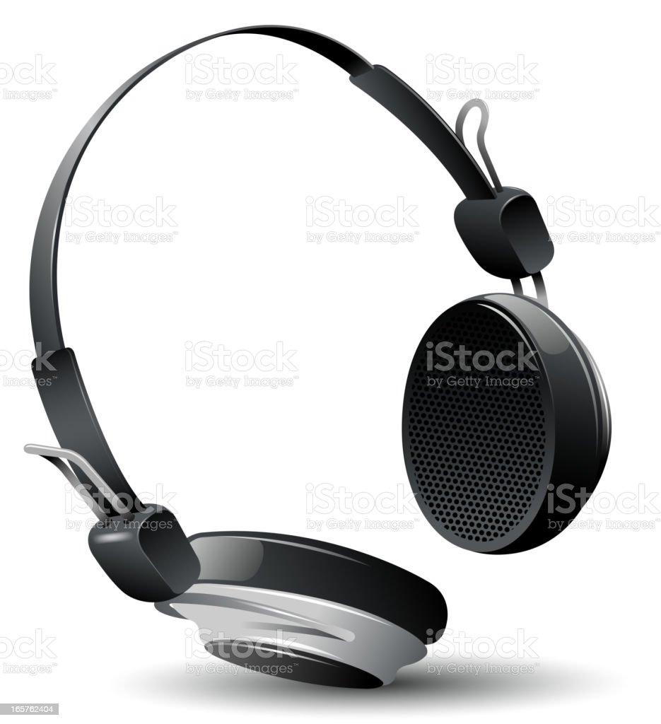 Slick large black and sliver headphone royalty-free stock vector art