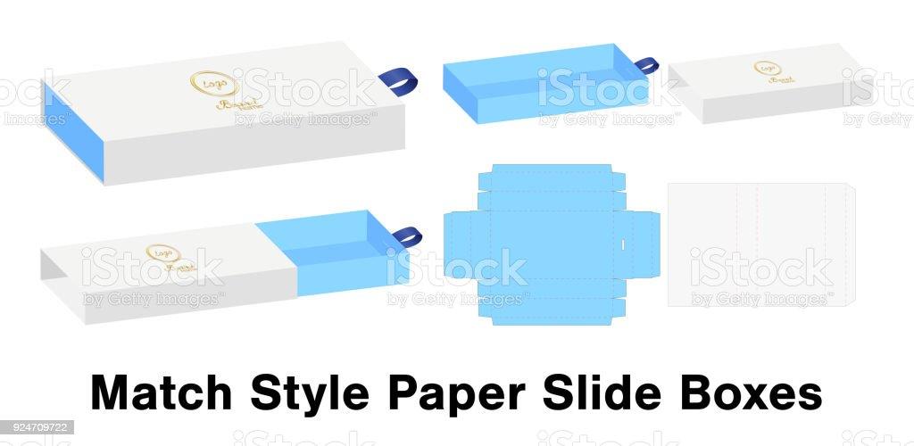 slide box die cut mock up template vector stock vector art more