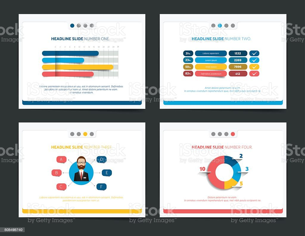 Slide business templates. Infographics for leaflet, poster, slide, magazine, book vector art illustration