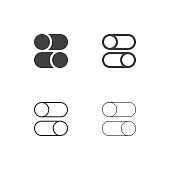 Slide Button Icons Multi Series Vector EPS File.