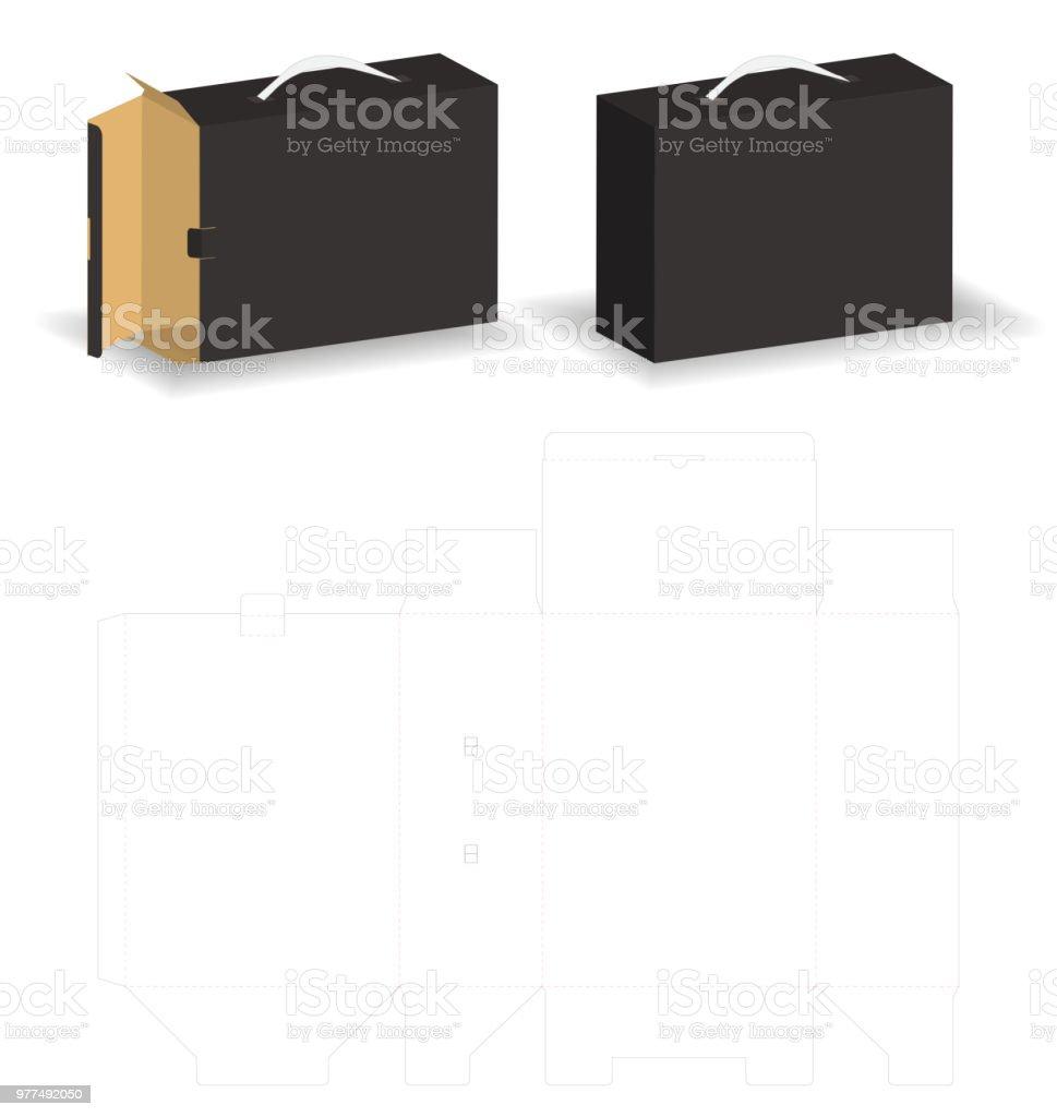 バッグ スタイルのモックアップ ボックス dieline でスライド剛性