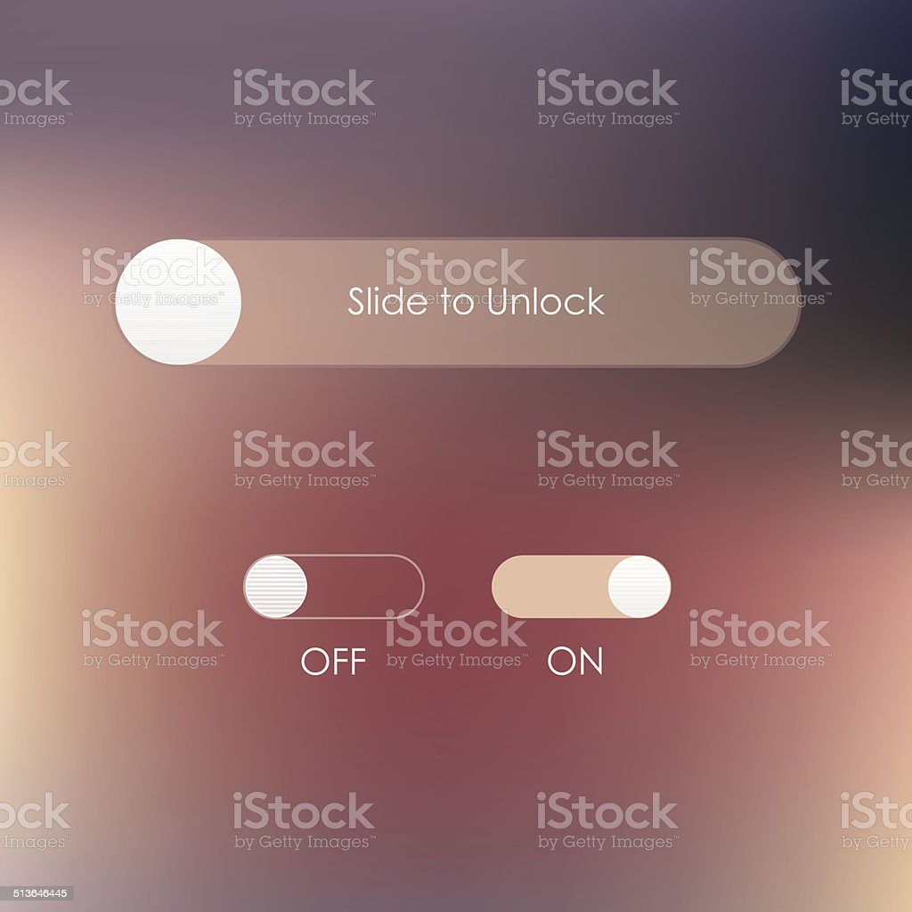 slide to unlock button and on off buttons vector art illustration