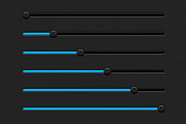 Slider bar. Black interface control panel with blue color. Vector 3d illustration