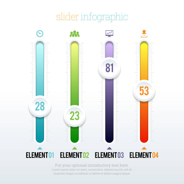 Slider Infographic Vector illustration of colorful glossy slider infographic elements. ZIP file contains optional editable AI, EPS, and PSD files. meter instrument of measurement stock illustrations
