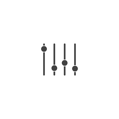 Slider sound bar vector icon on white isolated background.