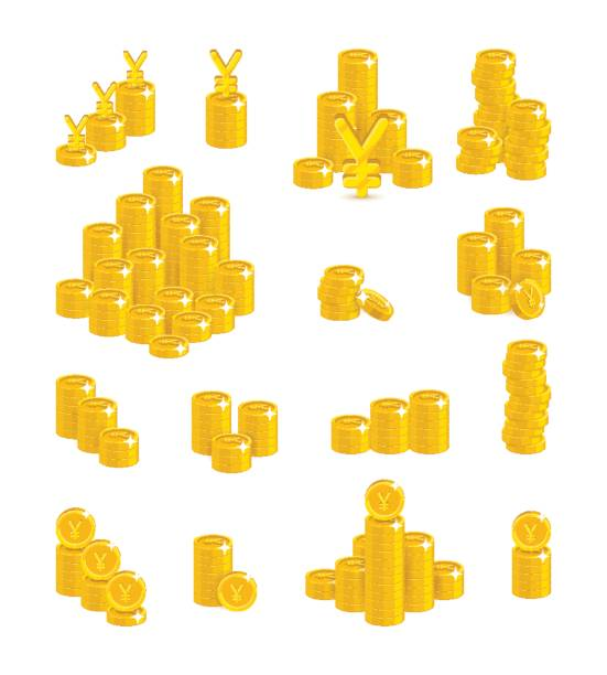 Slides gold Chinese yuan or Japanese yen isolated cartoon set Slides gold Chinese yuan or Japanese yen isolated cartoon set. A lot of slides and piles of gold yuan or yen and yuan or yen signs. Gold stacks of pieces vector illustration yuan symbol stock illustrations
