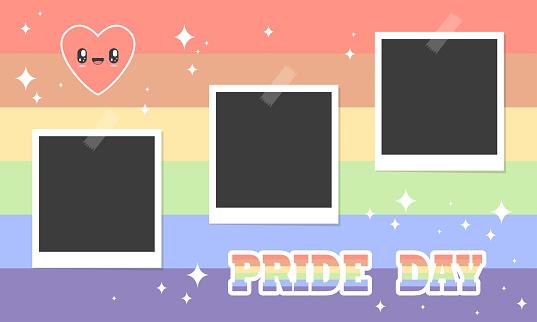 Slideshow gay pride day photos with kawaii details. lgbtq+ symbols