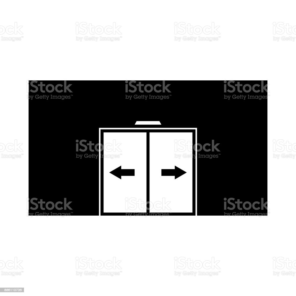 Sliding door vector icon, automatic door icon vector art illustration