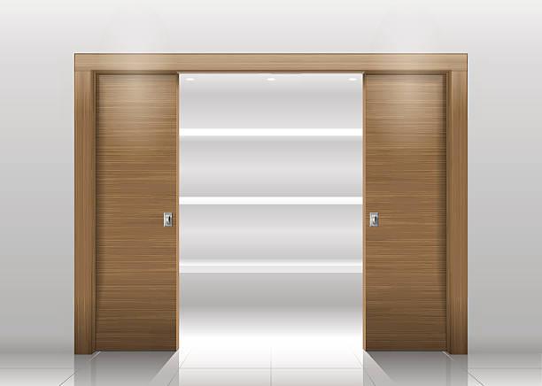 sliding door wardrobe - buchenholz stock-grafiken, -clipart, -cartoons und -symbole