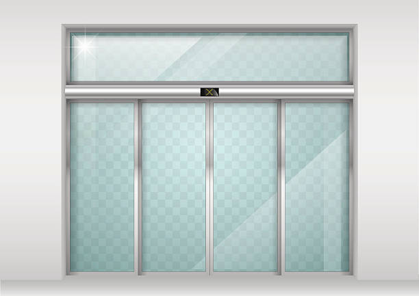 Sliding glass automatic doors Double sliding glass doors with automatic motion sensor. Entrance to the office, train station, supermarket. himbeeren stock illustrations