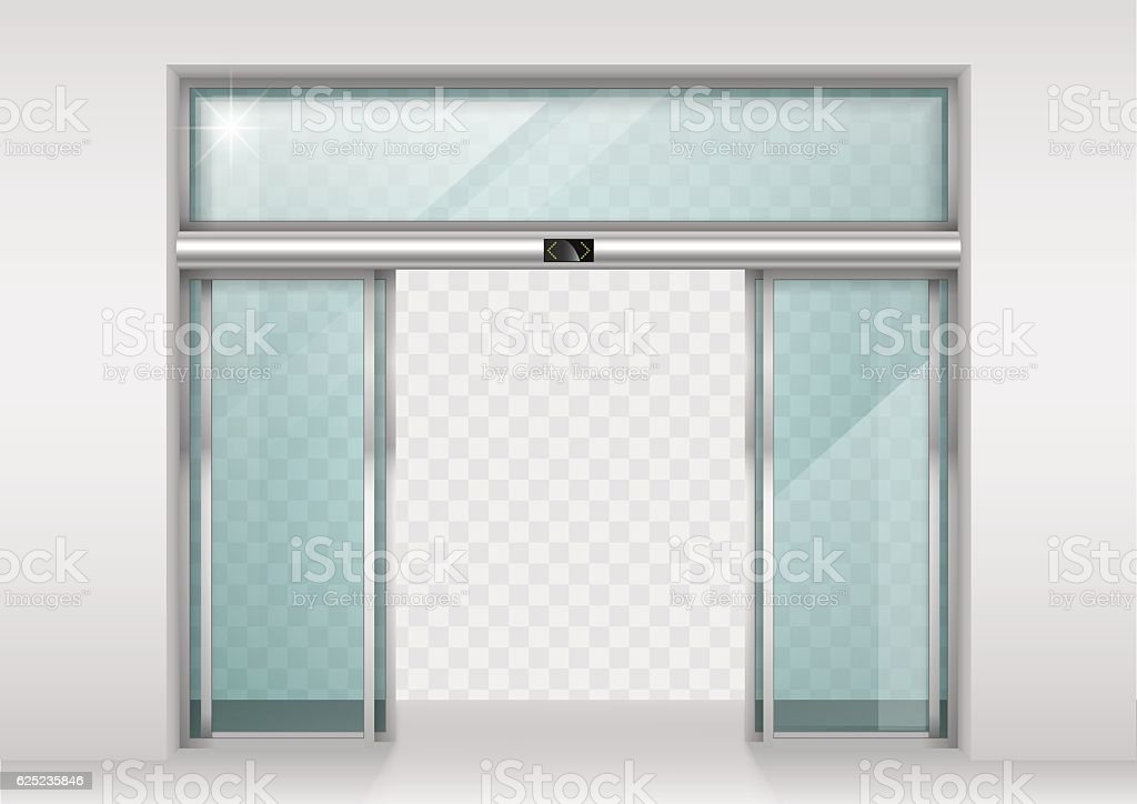 Sliding glass automatic doors vector art illustration