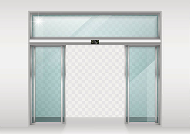 Sliding glass automatic doors Double sliding glass doors with automatic motion sensor. Entrance to the office, train station, supermarket. automatic stock illustrations