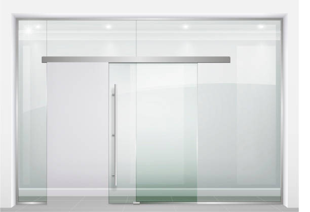 Sliding glass partition Sliding door wardrobe or dressing room, changing rooms, shop with a wood texture in vector graphics showroom stock illustrations