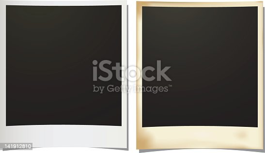 istock Slightly curved silver and gold photo borders 141912810