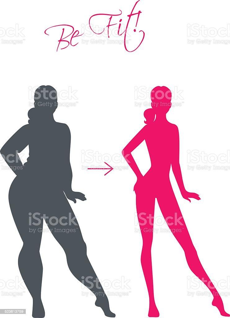 Slim and fat girls vector art illustration