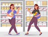 Slim and fat womans with paper bag choices food in supermarket. Obesity. Healthy and unhealthy lifestyle. Vegetables and fruit vs donut, bread, ice cream. Vector flat color illustration