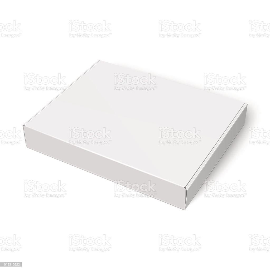 Slim cardboard box template. vector art illustration