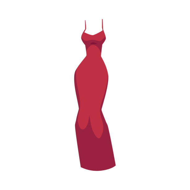 slim-fit abendkleid, langes rotes kleid - seidenhose stock-grafiken, -clipart, -cartoons und -symbole