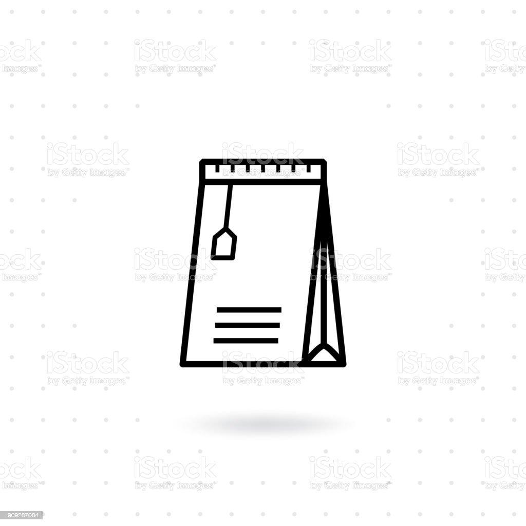 Slim paper bag icon vector art illustration