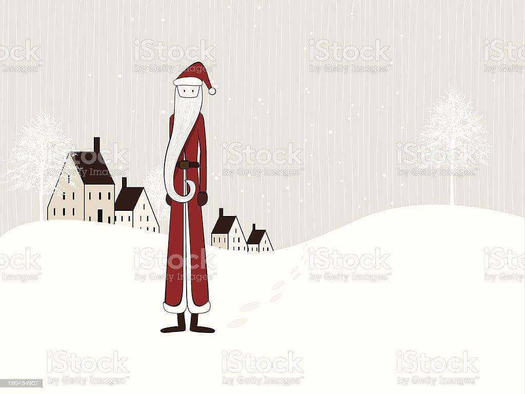 Slim Santa Claus card, Merry Christmas royalty-free stock vector art
