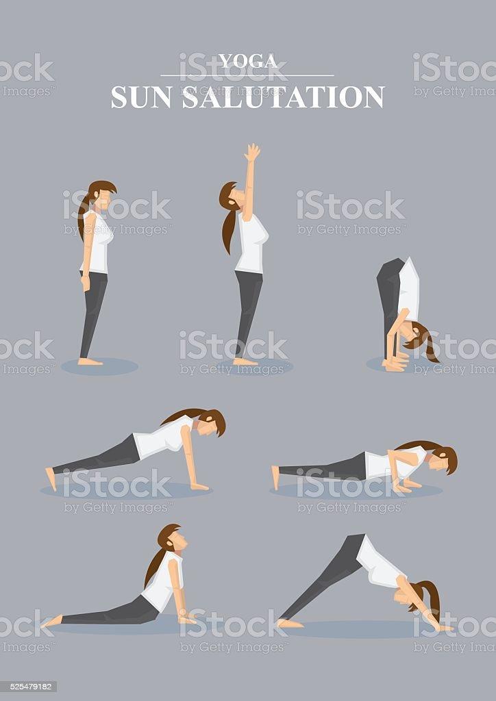 Slim Sporty Woman in Yoga Poses Sun Salutation Series vector art illustration