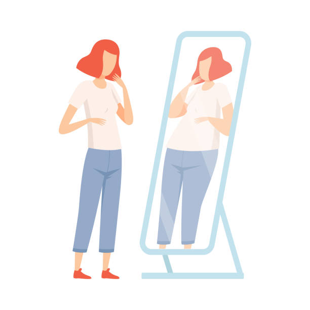 Slim Teen Girl Seeing Herself Fat in Mirror, Teenager Puberty Problem Vector Illustration Slim Teen Girl Seeing Herself Fat in Mirror, Teenager Puberty Problem Vector Illustration on White Background. anorexia nervosa stock illustrations