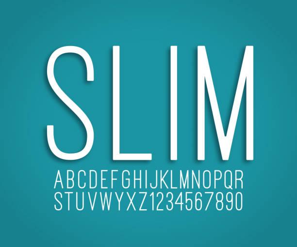 stockillustraties, clipart, cartoons en iconen met slim dun lettertype alfabet en getallen vector - lang lengte