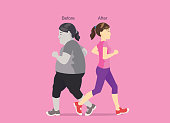Slim women jogging past herself was fat. Illustration about exercise for lose weight.