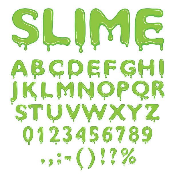 Slime alphabet zahlen und Symbole – Vektorgrafik