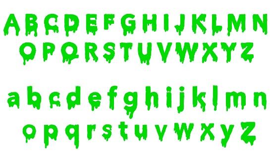 slime letters alphabet, vector illustration