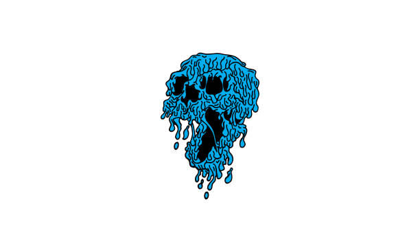 Slime Skull Vector Illustration Download with the EPS file for any editable and scalable needs. skulls tattoos stock illustrations