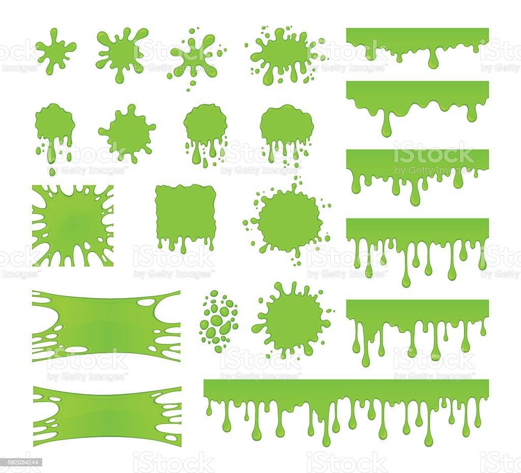 Slime vector set. Blots, splashes and smudges. Green liquid.