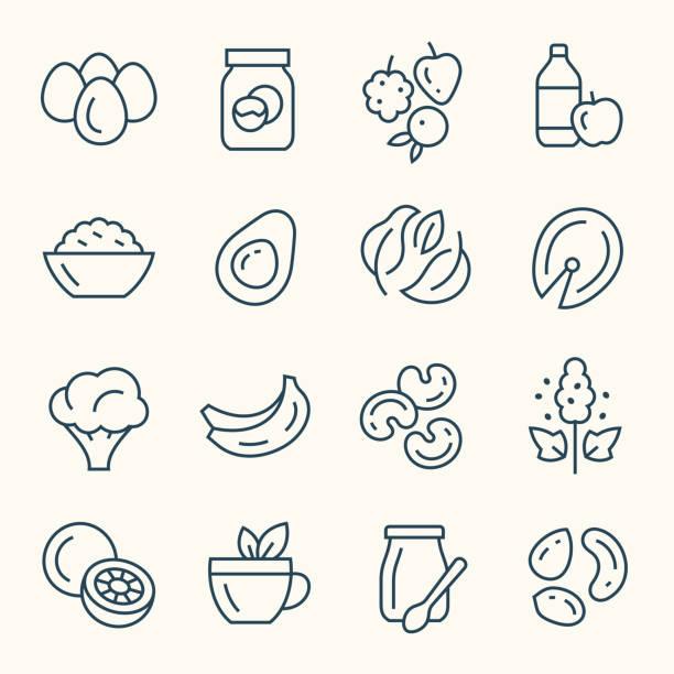 illustrations, cliparts, dessins animés et icônes de icônes de ligne de nourriture amincissantes - infusion pamplemousse