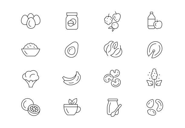 illustrations, cliparts, dessins animés et icônes de aliments amincissants icônes vecteurs de ligne mince. coup modifiable - infusion pamplemousse