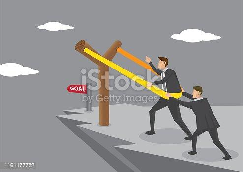 Businessmen on dangerous cliff putting themselves on gigantic Y-shaped slingshot catapult, aiming for business goal. Creative concept vector illustration.