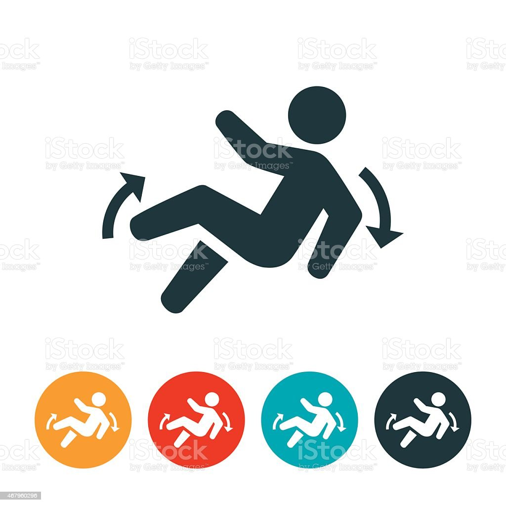 Slip and Fall Icon vector art illustration