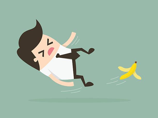 slip Businessman slipping on a banana peel. Business concept illustration. careless stock illustrations