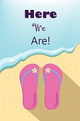 Slippers and ocean wave illustration, vertical vector illustration for summer holiday, summer vacation picture with place for text, slippers by the sea, sea wave and beach wear, beach thongs and wave