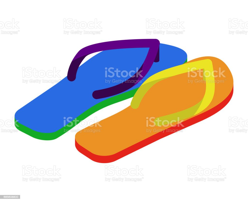 LGBT slippers. Beach shoes colors of rainbow flag royalty-free lgbt slippers beach shoes colors of rainbow flag 고무에 대한 스톡 벡터 아트 및 기타 이미지