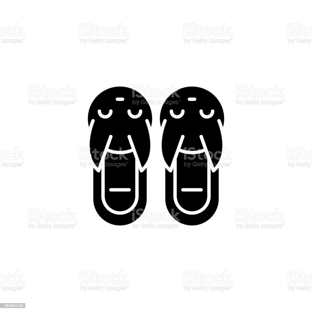 拖鞋黑色圖示概念。拖鞋平面向量符號, 符號, 插圖。 - 免版稅一對圖庫向量圖形