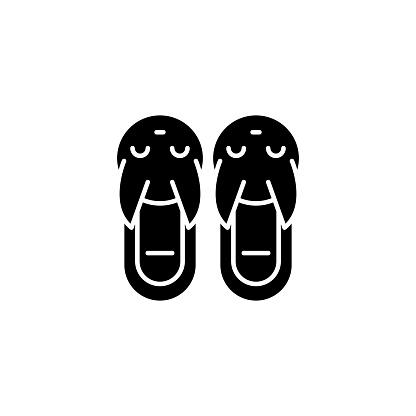 拖鞋黑色圖示概念拖鞋平面向量符號 符號 插圖向量圖形及更多一對圖片