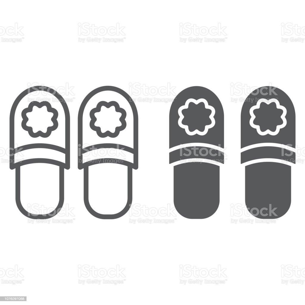 Hausschuhelinie Und Glyphsymbol Kleidung Und Schuhe Schuhe