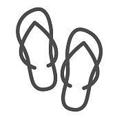 Slippers line icon, Summer concept, flip-flop shoes sign on white background, beach slippers icon in outline style for mobile concept and web design. Vector graphics