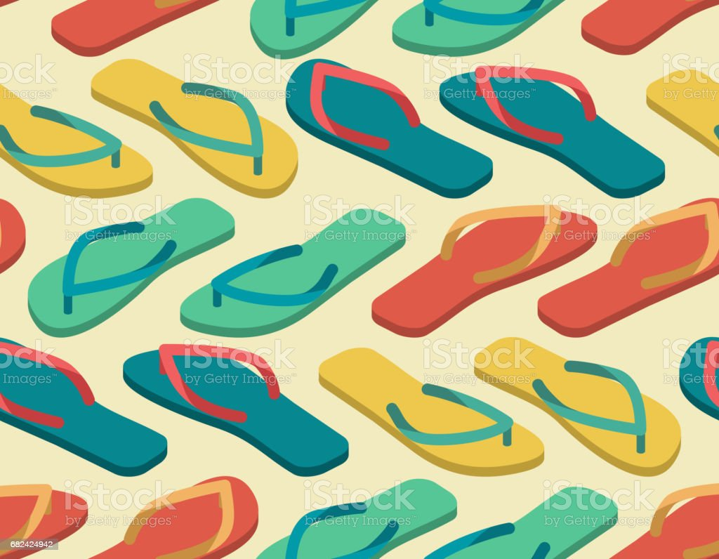 slippers seamless pattern. Summer shoes ornament. Beach Boots background royalty-free slippers seamless pattern summer shoes ornament beach boots background stock vector art & more images of arts culture and entertainment