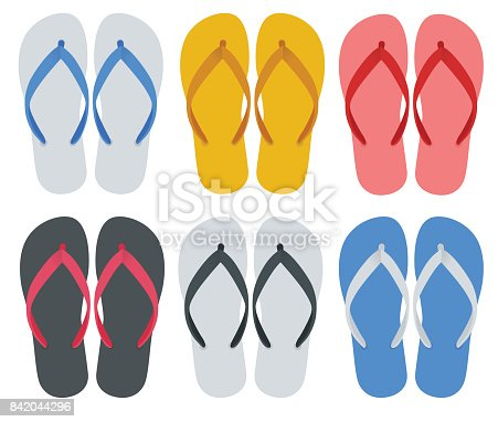 istock Slippers set of female with Multicolored slippers isolated on white background. Slippers for infographics and design. 842044296