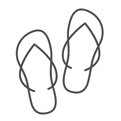 Slippers thin line icon, Summer concept, flip-flop shoes sign on white background, beach slippers icon in outline style for mobile concept and web design. Vector graphics.