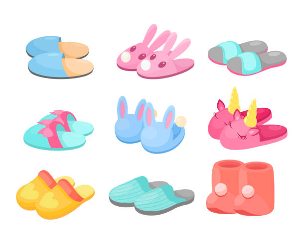 ilustrações de stock, clip art, desenhos animados e ícones de slippers vector illustration set, cartoon flat home footwear collection in different colors, comfortable slipper shoes with funny animal head, bow heart - unicorn bed