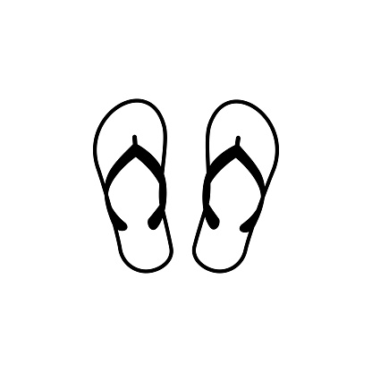 slippers vector line icon, sign, illustration on background, editable strokes