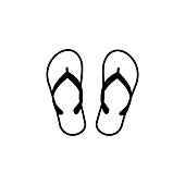 istock slippers vector line icon, sign, illustration on background, editable strokes 1051023650