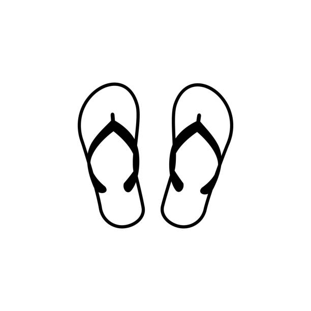 stockillustraties, clipart, cartoons en iconen met slippers vector lijn pictogram, teken, afbeelding op de achtergrond, bewerkbare lijnen - sandaal